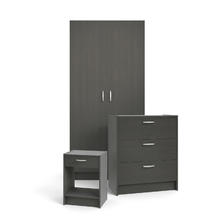 Pack chambre à coucher : garde-robe + commode + chevet